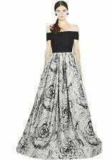 $1,496 ALICE + OLIVIA Meredith Black Grey Formal Ball Gown Dress - Sz 4