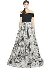 NWT $1,496 ALICE + OLIVIA Meredith Black Grey Formal Prom Ball Gown Dress - Sz 4