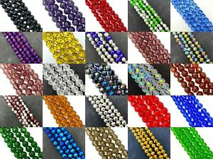 Faceted Round glass crystal beads strand - choose colour, size 4, 6, 8, 10, 12mm