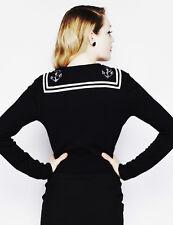 BLACK CARDIGAN - Sailor Anchor 8 10 Rockabilly nautical retro 1950s - Hell Bunny