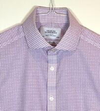 CHARLES TYRWHITT Mens NON-IRON Extra Slim Fit Purple/White 15/35 Dress Shirt