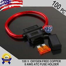 100 Pack 8 Gauge ATC In-Line Blade Fuse Holder 100% OFC Copper Wire + 1A - 40A