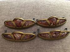 4 Bakelite???& Metal DRAWER PULLS Handles Art Deco Marbleized Vintage Rare!!