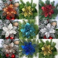 Christmas Tree Hanging Hollow Ornament Glitter Big Flower Xmas Decor K7K1
