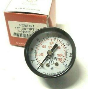 """Winters Pressure Gauge 160 PSIG 1-1/2 Face Steel Case 1/8"""" NPT Back BRZ PEM1421"""