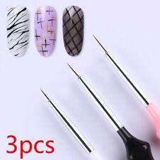 3Pc/Set Nail Liner Brush Set Drawing Uv Gel Acrylic Pen Manicure Nail Props Wh1