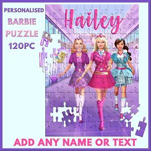 Personalised Barbie Puzzle - 120pc Jigsaw - Name Gift, Kids Birthday, Christmas