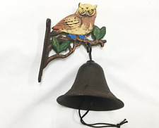 Cast Iron Wall Mount Painted Owl Bell for Indoor or Outdoor