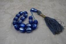 Vintage Blue Pearl Natural Faturan Bakelite PRAYER BEADS
