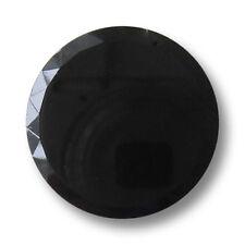 3 edle große schwarze flache Ösen Glasknöpfe mit facettiertem Rand (1532sc-27)