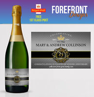 Personalised Champagne bottle label SILVER Wedding anniversary/wedding 25 YEARS