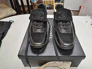 Authentic Chanel Black Velvet Leather CC Logo Sneakers Size 37H