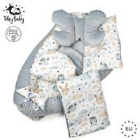 Babynestchen Neugeborene Kuschelnest Baby Nestchen Bett Set 5-Teilig Kokon Grau