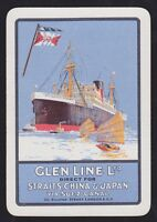 1 Single VINTAGE Playing/Swap Card OLD WIDE GLEN LINE STEAM SHIP + JUNK BOATS