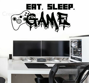 Gamer Controller Eat Sleep Game Vinyl Wall Stickers Gaming Decals Murals Game V1