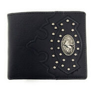 Western Cowboy Genuine Leather Metal Tooled Rodeo Mens Bifold Short Wallet
