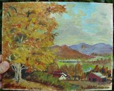 Vintage Original Signed Barn Farmhouse Painting Canvas Board Fall Autumn Trees
