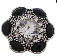 Silver Clear Black Rhinestone Flower 20mm Snap Charm For Ginger Snaps