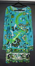 CHARLIE BROWN stunning dress, green/blue floral, VGC, stretchy, 14 made in Au