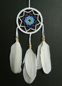 BEAUTIFUL DREAM CATCHER NEW TURQUOISE BLUE WHITE BEADED MANDALA DREAMCATCHER