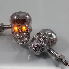 Chrome Skull Amber LED Turn Signal Light Indicator Aprilia Dorsoduro ETV Mojito