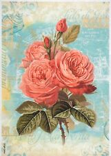 Rice Paper for Decoupage Scrapbook Craft Sheet Red Roses Lido Small