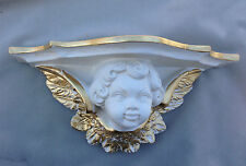 Wall Bracket White-gold Baroque 29x13 Storage Antique Wall Mirror Console Angel