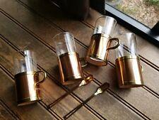 4  BEUCLER COBRAS Copper Brass & Glass Irish Turkish Coffee Mugs Cups & 2 Spoons