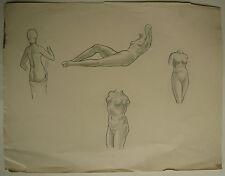 Beau DESSIN Ancien Étude Nus Féminins Jeune Femme ART DÉCO 1941 #14