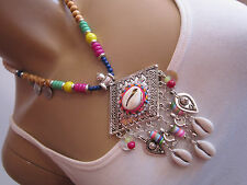 Damen Collier Hals Kette Modekette kurz Hippie Ethno Boho Ibiza Statement hz559