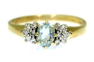 Aquamarine & 0.20ct Diamond Cluster 9ct yellow gold ring size O 1/2 ~ 7 1/2