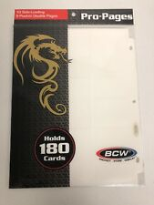 White BCW Pro-Pages 10 Side-Load, 9 Pocket Pages - Holds 180 TCG/CCG Cards NIP
