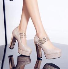 Women's Round Toe Sequins Multi Ankle strap Block High Heel Pump Wedding Shoes
