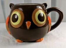 Retro Owl Coffee Mug Mesa Home Products Hand-Painted Ceramic Cup Brown Orange