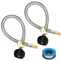 2Pack Grill 15Inch Propane Hose with Gauge QCC1/ Type1 Connection 1/4 Male Flare