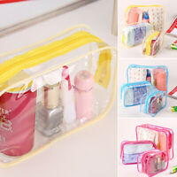 PVC Crystal Clear Zipper Bag Wash Cosmetic Toiletry Storage Bag Pouch Waterproof