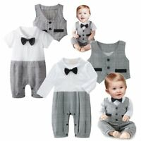 Baby Boy Wedding Christening Tuxedo Formal Party Suit Outfit Clothes+Waistcoat