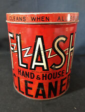 Old Vtg Flash Hand & House Cleaner Cleans Tin Container Can Red Made In USA