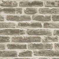 RUSTIC BRICK WALL WALLPAPER - PALE BROWN - J34407 UGEPA