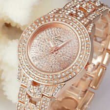 GENEVA Women's Diamond Crystal Stainless Steel Bracelet Dial Quartz Wrist Watch