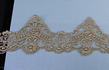 Bridal Embroidered Gold Lace Trim  Wedding Gown Veil Embellished DIY By Yard