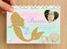 Personalised Mermaid Under The Sea Kids Birthday Invitation #4 - UNLIMITED QTY