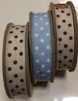 East of India Spotty fabric grosgrain ribbon shabby chic vintage reel 3m J Lewis