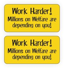 Hard Hat Stickers | Work Harder Millions on Welfare Decals Funny Labels (Pair)