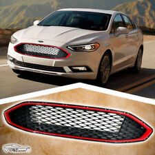 2017 2018 Ford Fusion Front Grill Honeycomb Gloss Black Red Trim Grille