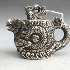 Collection Ancient Chinese Hand graving dragon Cupronickel Teapot v194