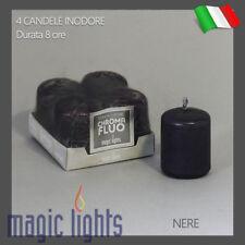 4 CANDELE INODORE NERE CERO MOCCOLO MEDIO 45X40mm CANDELA INODORE NERA