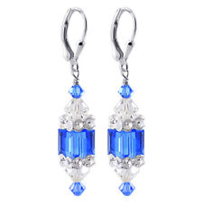 Sterling Silver Swarovski Elements 8mm Indigo Blue Cube Crystal Drop Earrings