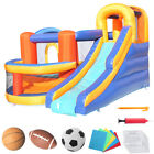 Inflatable Bounce House Castle Kids Fun Jumper Slide Bouncer w/ Basketball Hoop