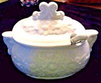 "Vintage White Ceramic Gravy Boat w/Lid & Matching Spoon HIMARK Japan 7.5"" long"